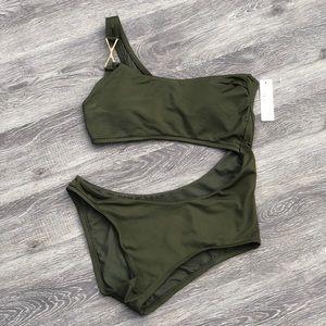 NWT Olive cutout one piece swimsuit - Size Medium